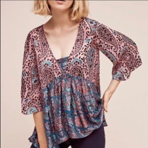 Anthropologie Silk Floral Burnout Top